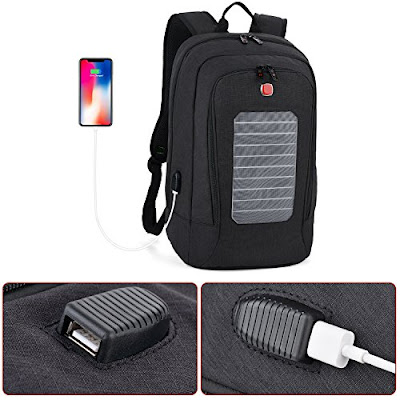 Solar Backpacks: Waterproof Fanspack Backpack with USB Port - Bag for Schooling, Camping and Hiking