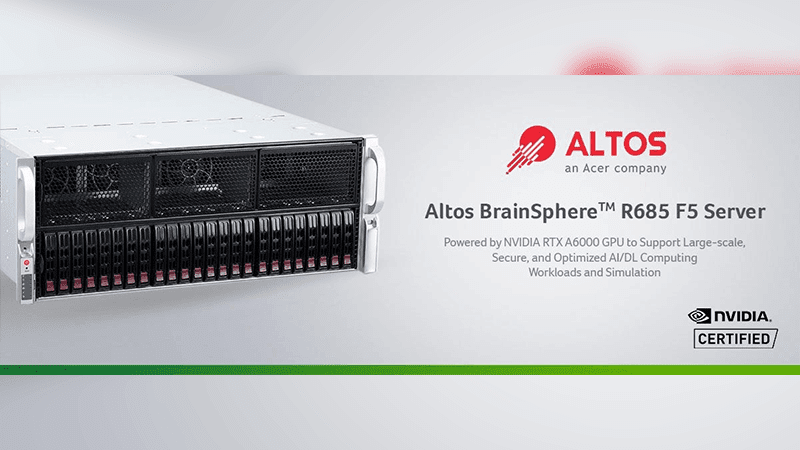Altos BrainSphere R685 F5 powered by NVIDIA RTX A6000 launches