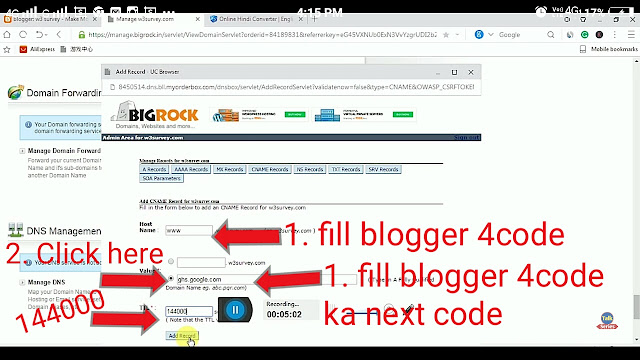 domain forwarding,Bigrock,Domain,Bigrock domain,blogger,setup domain to blogger