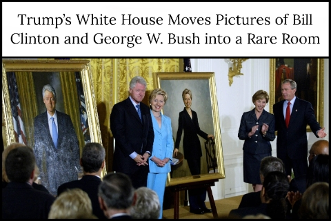 Trump's White House Moves Pictures of Bill Clinton and George W. Bush into a Rare Room