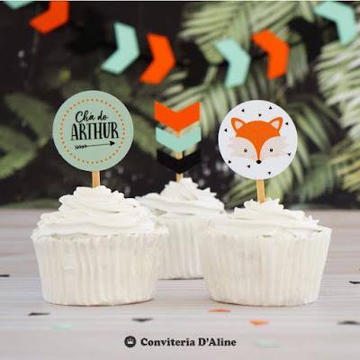 topo topper raposa festa aniversario decoracao