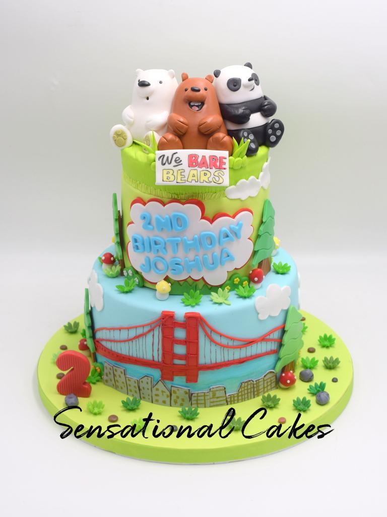The Sensational Cakes We Bare Bears 2 Tier City And Bridge Children 2nd Year Birthday Cake Singapore Webarebearscake