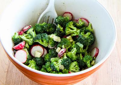 Easy Broccoli and Radish Salad Recipe with Gorgonzola (Low-Carb, Gluten-Free) found on KalynsKitchen.com
