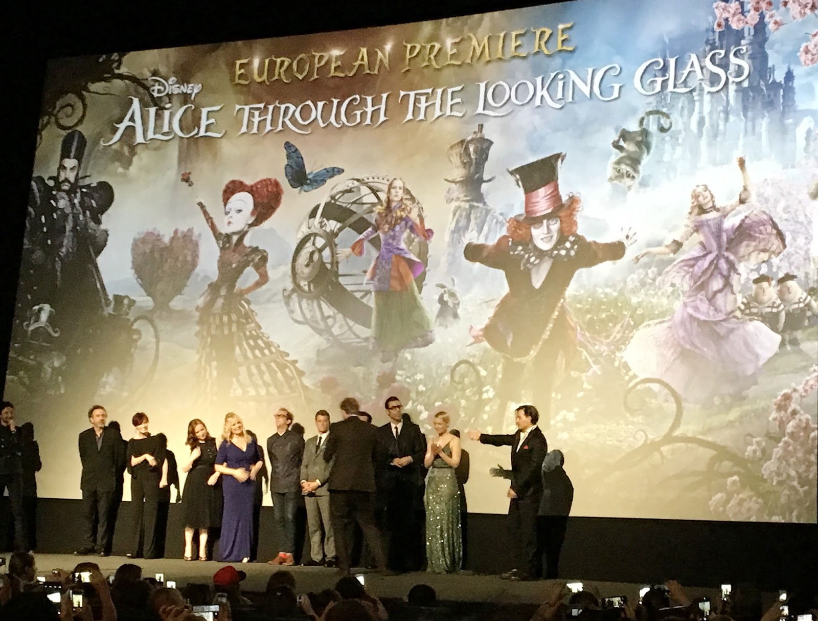 Alice Through the Looking glass european premiere in Leicester Square cast on stage