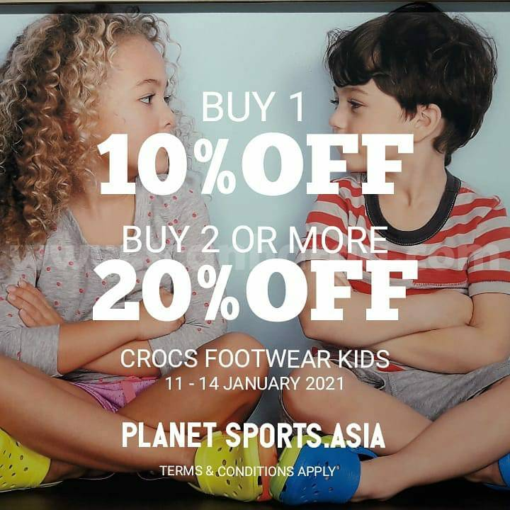 Planet Sports Promo Crocs Footwear Kids! BUY 1 GET 10%, BUY 2 OR MORE 20% OFF