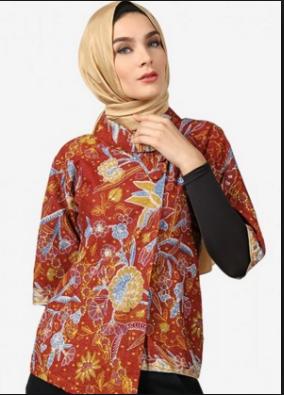 Model Baju Batik Kerja Muslimah Modern Terbaru