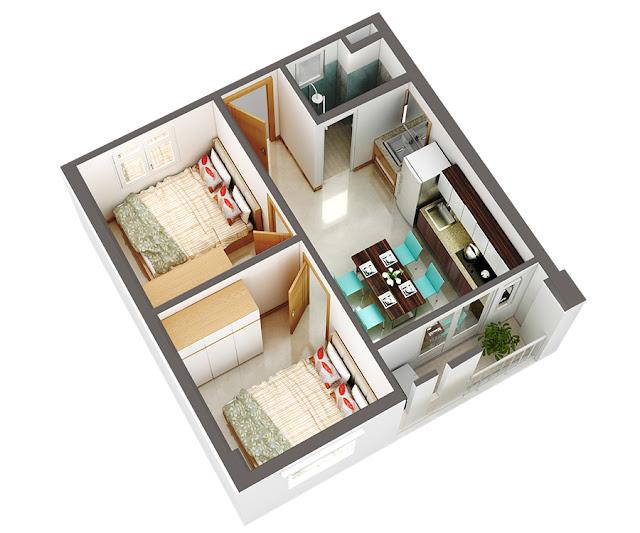 Căn hộ B, 2 Phòng ngủ