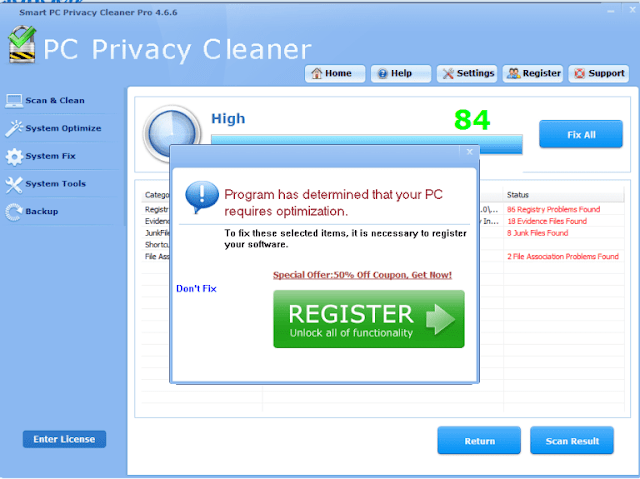Smart PC Privacy Cleaner Pro (Falso optimizador)