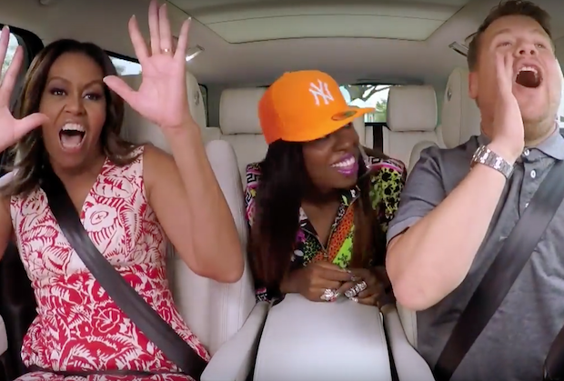 "Michelle Obama y Missy Elliott cantan a en el ""Carpool Karaoke""."