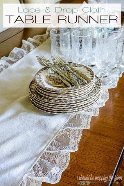 lace dropcloth table runner