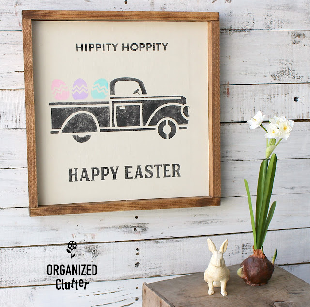 Easter Egg Pickup Truck Sign #stencil #Eastersign #Easterdecor #pickuptruck #Eastereggs
