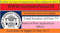 Maharashtra Public Service Commission Recruitment 2017– Agriculture Officer