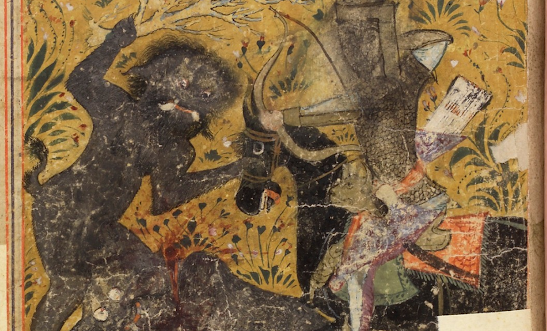 Ghoul attacking a victim from the Persian manuscript The Shahnameh