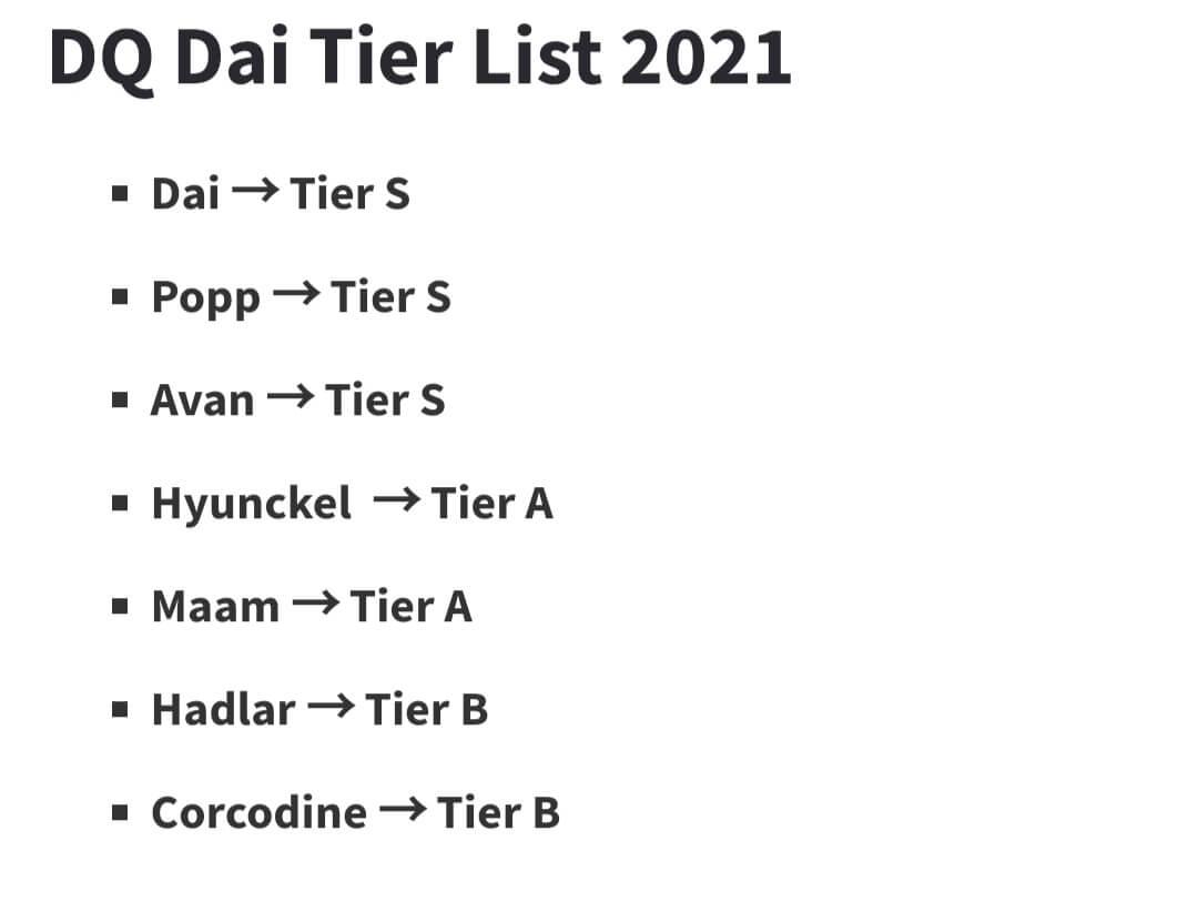 Dragon Quest the Adventure of Dai - Tier List