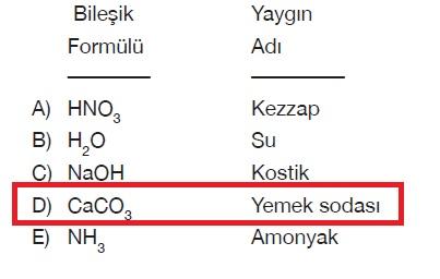 Bileşiklerin kimyasal formülüne karşılık verilen yaygın adları