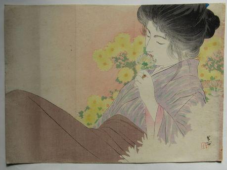 梶田半古 菊のかおり の木版画販売買取ぎゃらりーおおのです。愛知県名古屋市にある木版画専門店