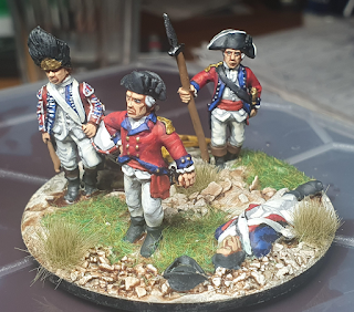 British Jump off point with drummer, two officers and a dead continental infantrymen
