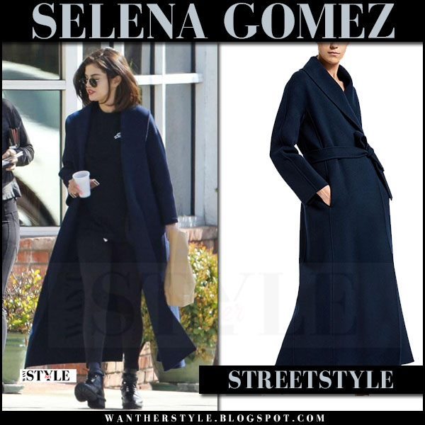 Selena Gomez in dark blue long coat and black lace-up ankle boots balenciaga what she wore streetstyle march 2017