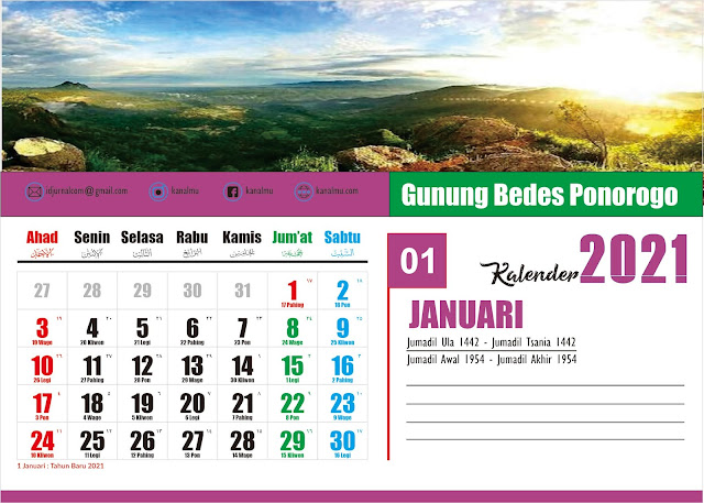 Kalender 2021 Bulan Januari