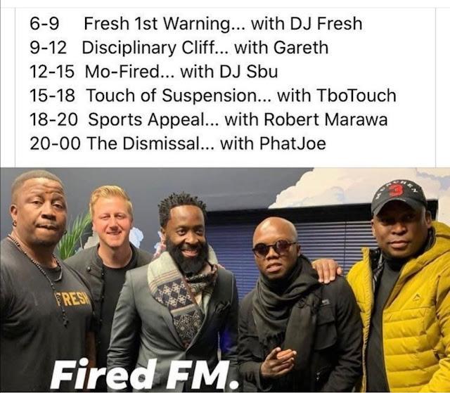 Robert Marawa, DJ Fresh, Gareth Cliff, T'bo Touch and Phat Joe
