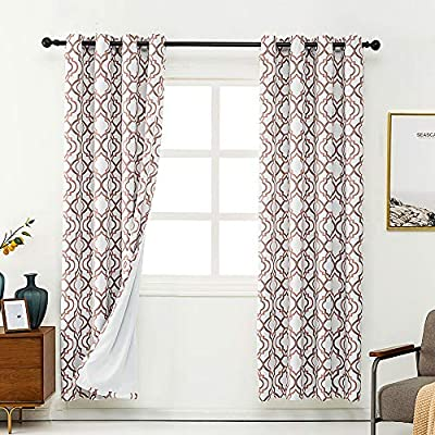40% OFF 2 Panels Blackout Curtains with Moroccan Pattern for Living Room Bedroom - Grommet Top/3 Size/3 Colour Available