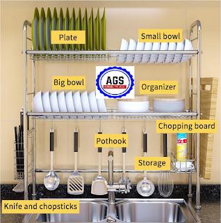 Cara Memasang Rak Piring Stainless Pipa Bulat Rak Dapur di Atas Wastafel