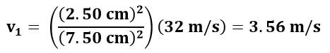 Cálculo de velocidad en el punto 1 del ejemplo 1