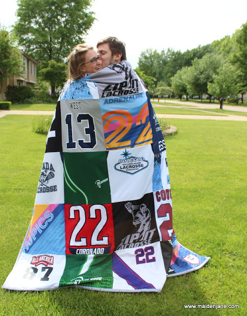 25 Block T Shirt Quilt Made of Jerseys