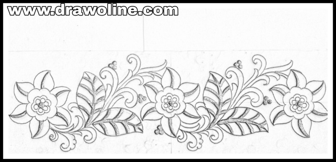 Beautiful pattern of hand emroidery saree borders designs on tracing paper by pencil sketch sadi ka kinara drawing and sketch with pencil