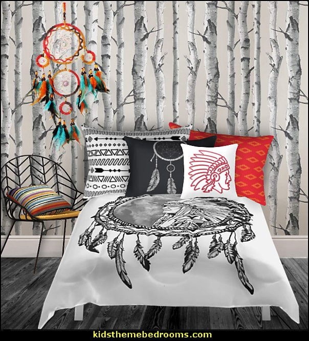 Southwestern - American Indian theme bedrooms - mexican rustic style decor - wolf theme bedrooms - Santa Fe style - wolf bedding - Tipis, Tepees, Teepees - Decal sticker wolf - wolf wall mural decals - birch tree branches - cactus decor - Aztec print - horse themed bed - horse headboards - horse shaped bed
