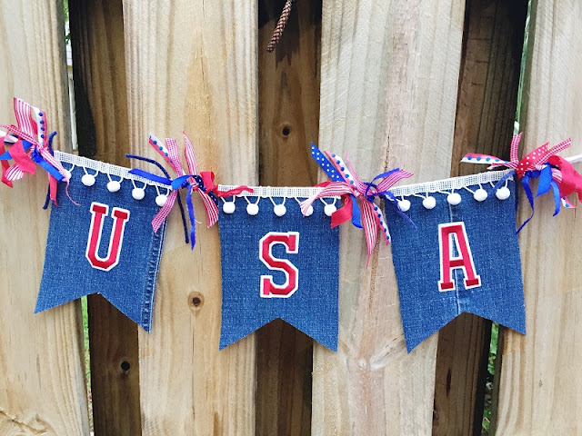 July 4th banner upcycled denim