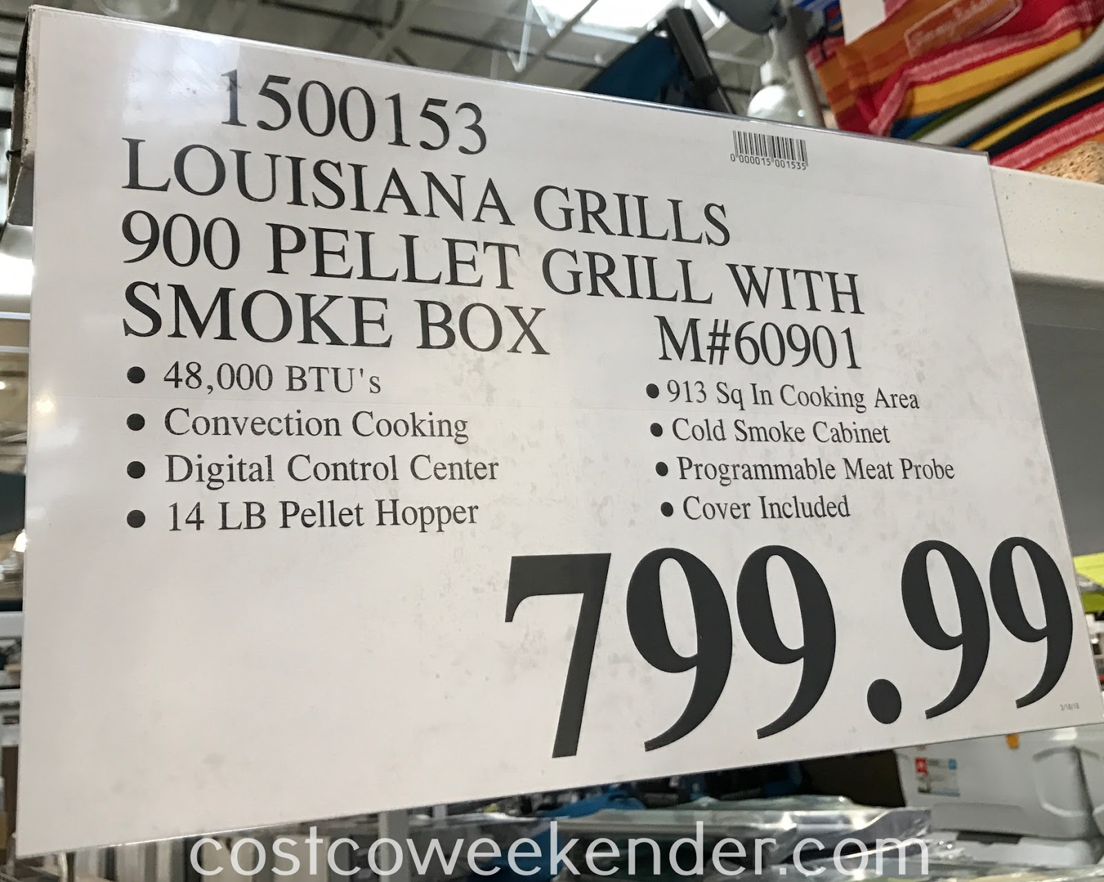 Deal for the Louisiana Grills Wood Pellet Grill and Smoker (model 60901) at Costco