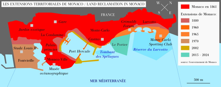 Land Reclamation in Monaco (1861 - 2024)