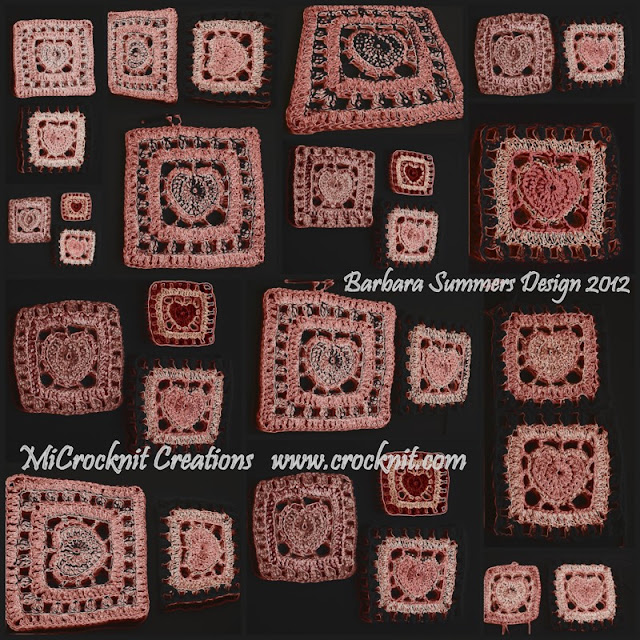 crochet patterns, how to crochet, hearts, square hearts, hearts afghan, granny square hearts,
