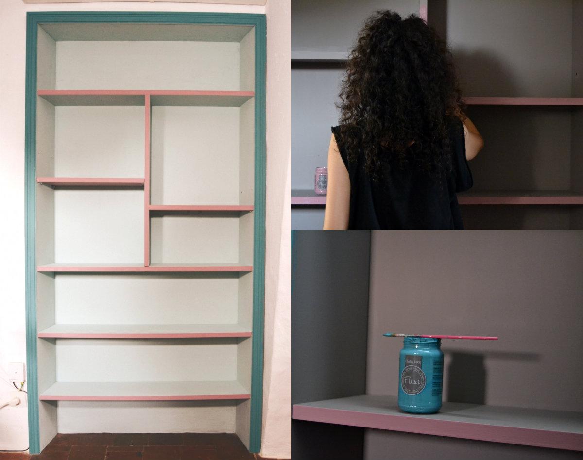 Antes y después de una estantería, un Diy realizado con pinturas de Fleur