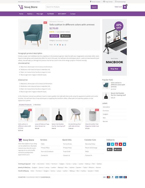 Free Souq Store Premium Ecommerce Blogger Template - Giaodienblog.com