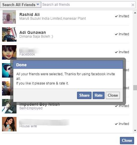 how to invite all friends to my Facebook page