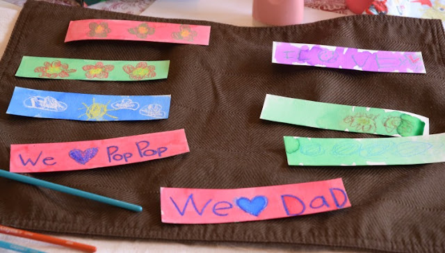 Simple kid-made gift for Father's Day- watercolor resist bookmarks. What can you get the Dad who likes to read more than he likes sports, gadgets, or cars? Bookmarks covered with kid-made art.