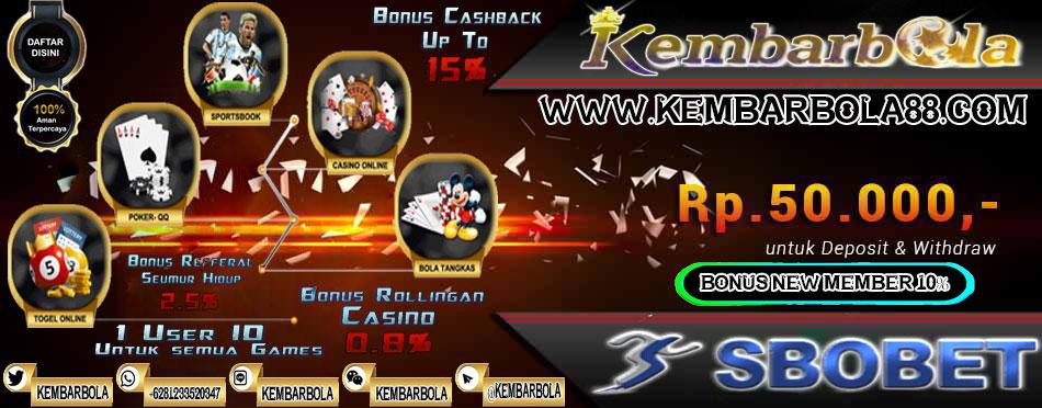 KEMBARBOLA88.NET | SITUS JUDI ONLINE TERPERCAYA SEJAK 2006 | BONUS DEPOSIT 10% Bonus-kembar-bola