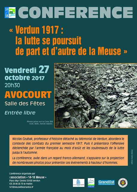 """AVOCOURT (55) - Conférence """"Verdun 1917 : la lutte se poursuit de par et d'autre de la Meuse"""" (27 oct 2017)"""