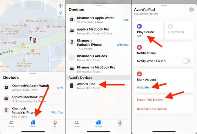 """على جهاز iPhone الخاص بك ، انقر فوق """"الأجهزة"""" ، واختر iPad الخاص بك من القائمة ، ثم انقر فوق """"تشغيل الصوت"""" أو """"وضع علامة كخسارة"""" أو """"مسح هذا الجهاز""""."""