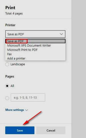كيفية حفظ صفحة ويب كملف PDF على ويندوز 10