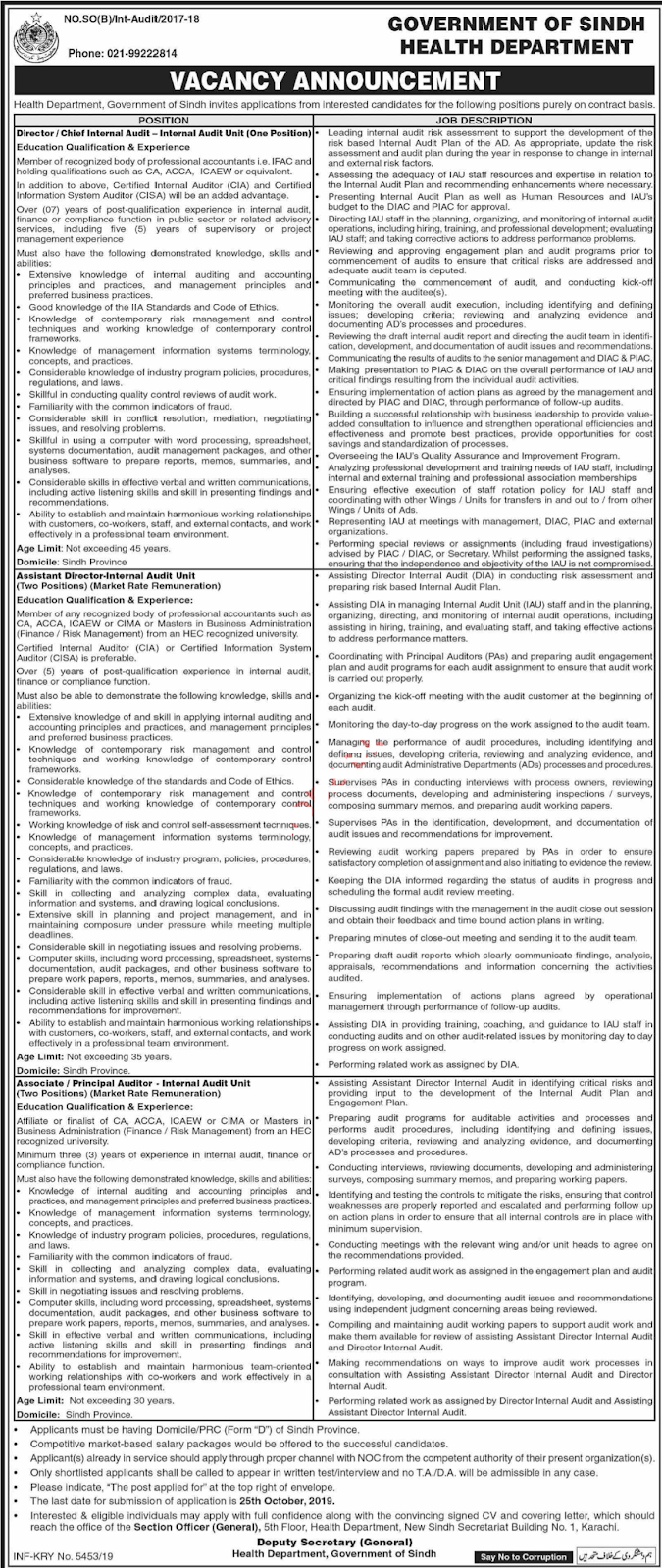 Latest Health Department Karachi Jobs 2019