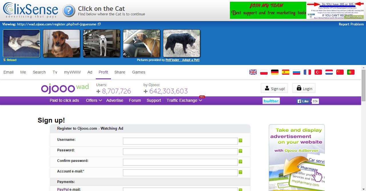 Viendo los anuncios en ClixSense