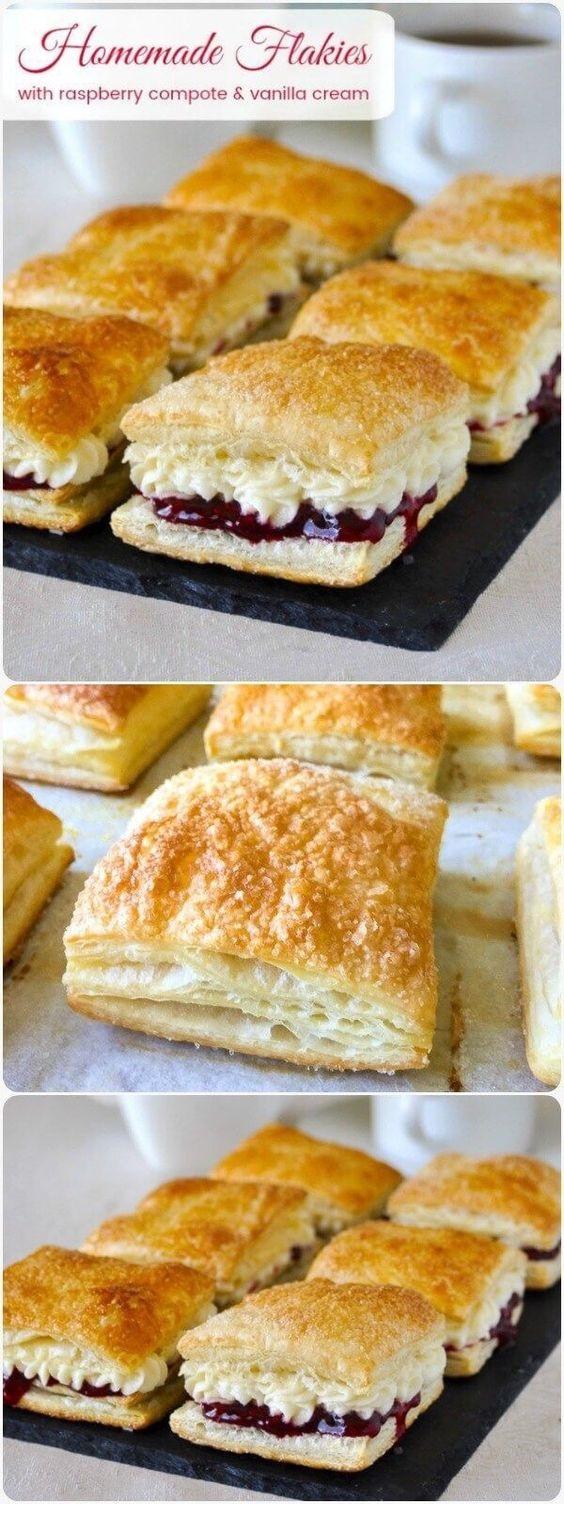 Homemade Flakies With Raspberry Compote & Vanilla Cream
