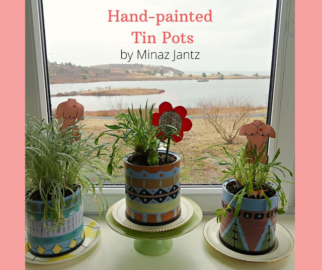 Hand Painted Tin Pots on window sill by Minaz Jantz