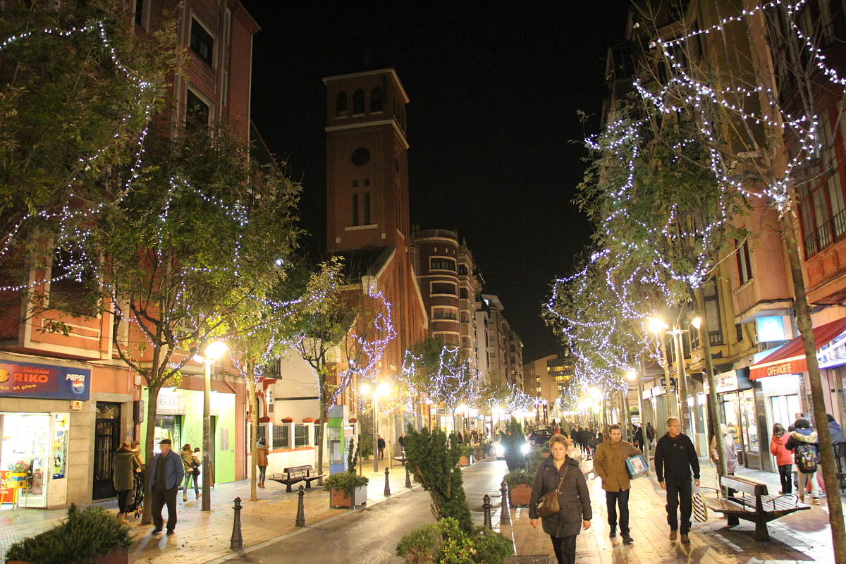 Luces de Navidad en el paseo de Los Fueros