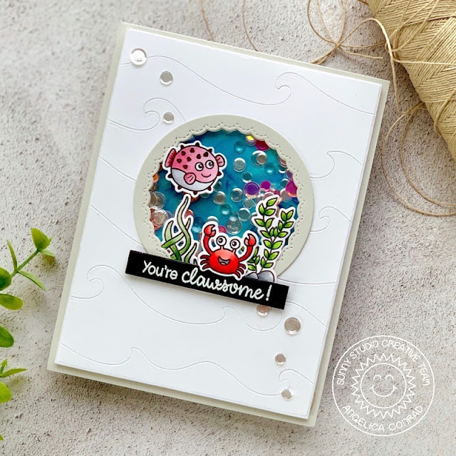 s, Best Fishes & Fancy Frames Summer Themed Shaker Card by Angelica Conrad