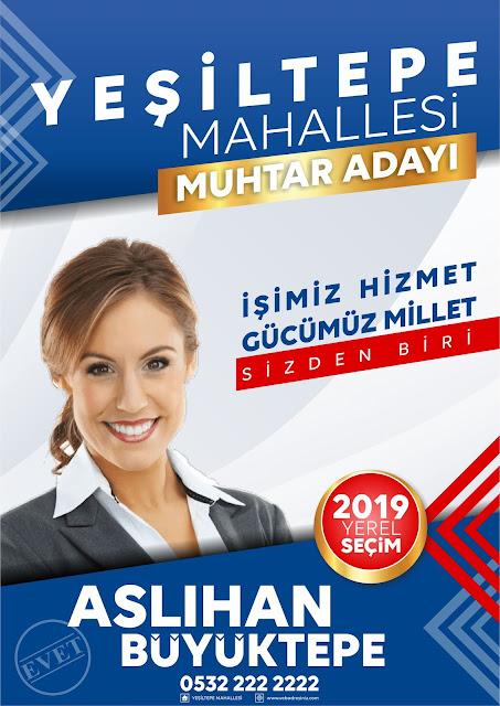 2019 Yerel Seçim Aday Tanıtım Afişi Baskısı belediye başkan adayı, muhtar adayı