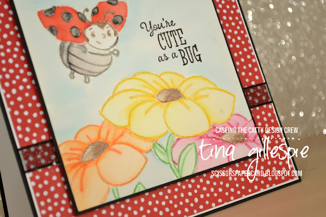 scissorspapercard, Stampin' Up!, CASEing The Catty, Little Ladybug, No Line Watercolouring, Sale-A-Bration